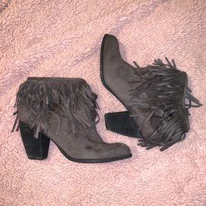 Grey Fringe Ankle Boots